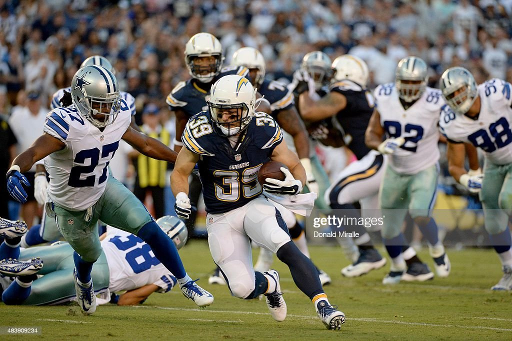 Runningback Danny Woodhead #39 of San Diego Chargers runs into the end zone for a 8-yard touchdown against the Dallas Cowboys during the first quarter of their NFL Preseason game at Qualcomm Stadium on August 13, 2015 in San Diego, California.