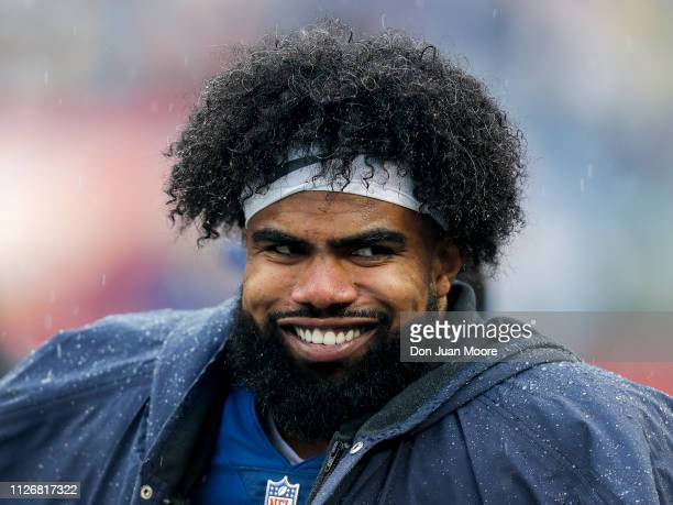 Runningback Ezekiel Elliott of the Dallas Cowboys from the NFC Team on the sidelines during the NFL Pro Bowl Game at Camping World Stadium on January...