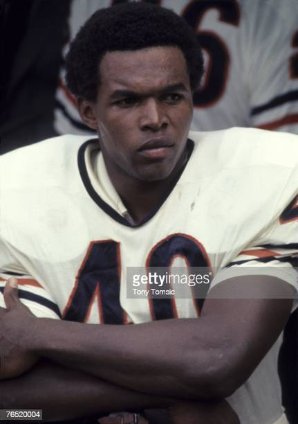 Runningback Gale Sayers of the Chicago Bears awaits the start of a game in September 1969