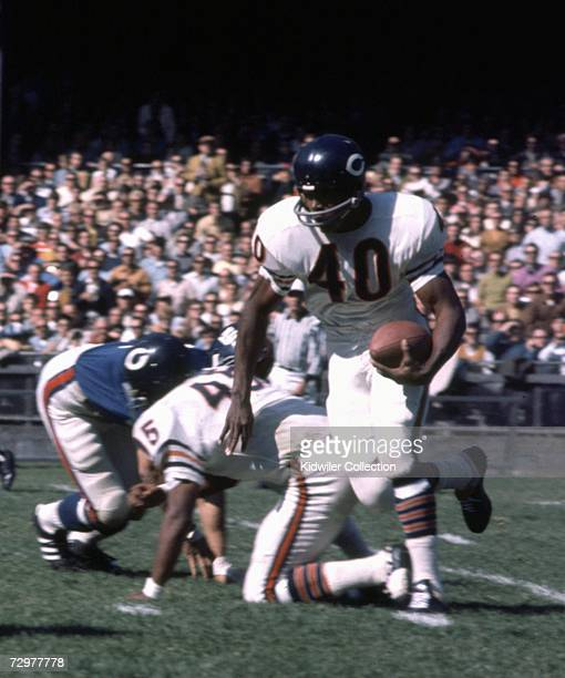 Runningback Gale Sayers of the Chicago Bears runs the ball during a game on October 5 1969 against the New York Giants at Yankee Stadium in New York...