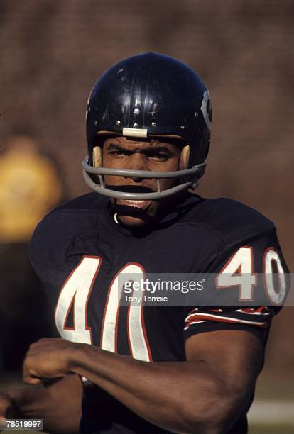 Runningback Gale Sayers of the Chicago Bears warms up prior to a game on December 1969 at Soldier Field in Chicago Illinois