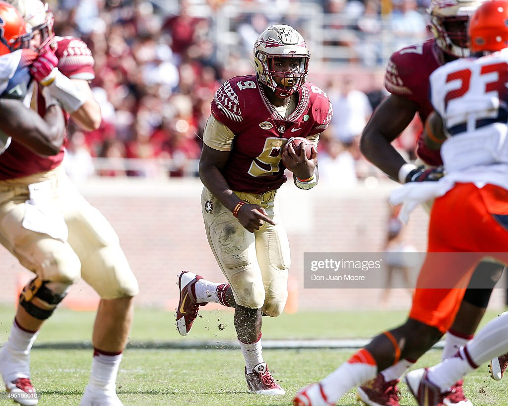 Runningback Jacques Patrick #9 of the Florida State Seminoles on a running play during the game against the Syracuse Orange at Doak Campbell Stadium on Bobby Bowden Field on October 31, 2015 in Tallahassee, Florida. Florida State defeated Syracuse 45 to 21.