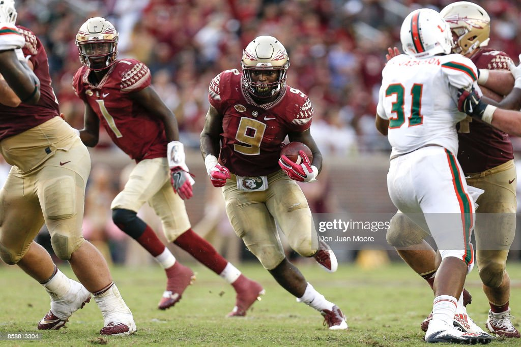 Runningback Jacques Patrick #9 of the Florida State Seminoles on a running play during the game against the Miami Hurricanes at Doak Campbell Stadium on Bobby Bowden Field on October 7, 2017 in Tallahassee, Florida. Miami defeated Florida State 24 to 20.
