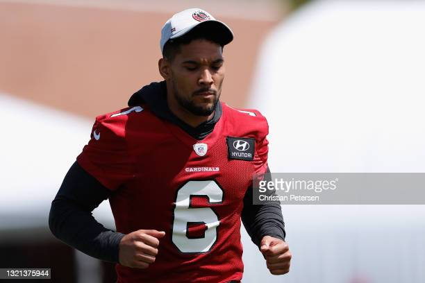 Runningback James Conner of the Arizona Cardinals participates in an off-season workout at Dignity Health Arizona Cardinals Training Center on June...