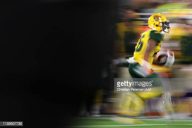 Runningback Jhurell Pressley of the Arizona Hotshots rushes the football against the Atlanta Legends during the first half of the AAF game at Sun...