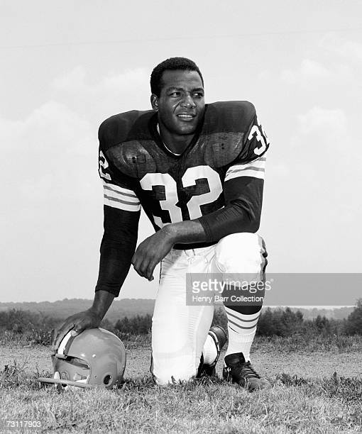 Runningback Jim Brown of the Cleveland Browns poses for a portrait during training camp on July 24 1964 at Hiram College in Hiram Ohio