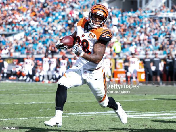 Runningback Joe Mixion of the Cincinnati Bengals on a running play for a touchdown during the game against the Jacksonville Jaguars at EverBank Field...