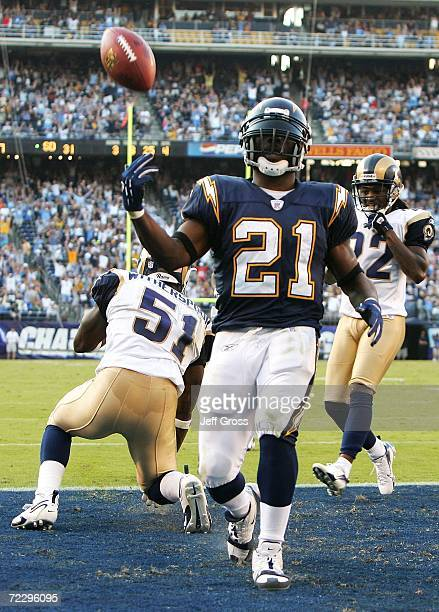 Runningback LaDainian Tomlinson of the San Diego Chargers celebrates after catching a pass for a touchdown in the second half against the St. Louis...