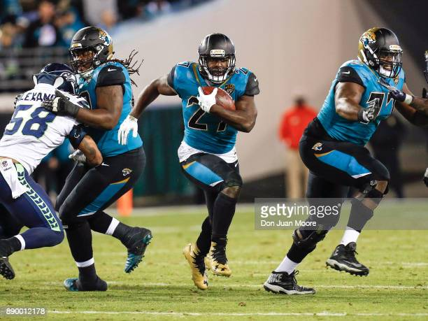 Runningback Leonard Fournette of the Jacksonville Jaguars on a running play up the middle during the game against the Seattle Seahawks at EverBank...