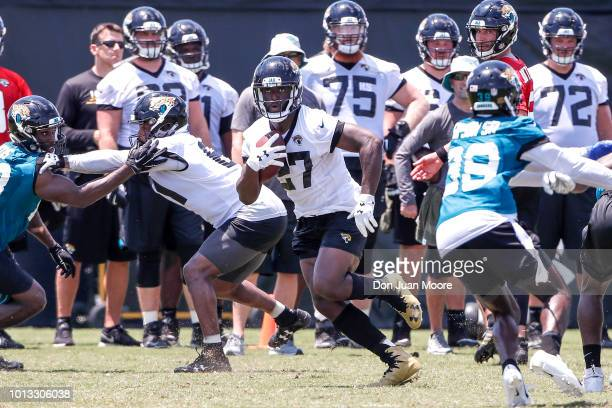 Runningback Leonard Fournette of the Jacksonville Jaguars works out during Training Camp at Dream Finders Homes Practice Complex on July 27 2018 in...