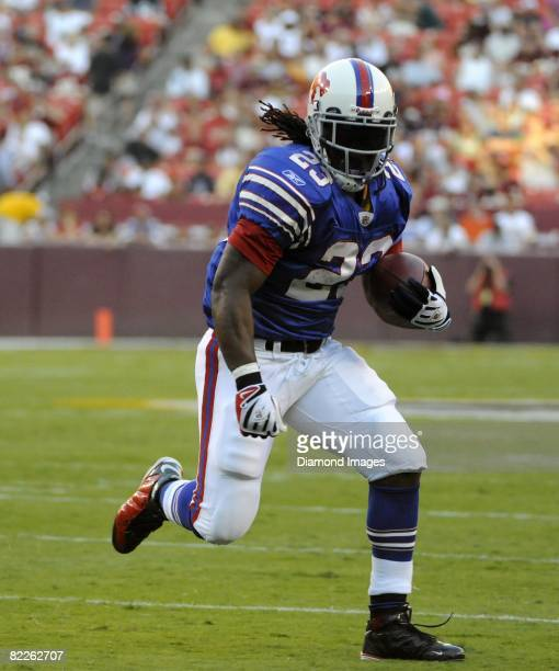 Runningback Marshawn Lynch of the Buffalo Bills runs with the ball during a preseason game on August 9 2008 against the Washington Redskins at Fedex...