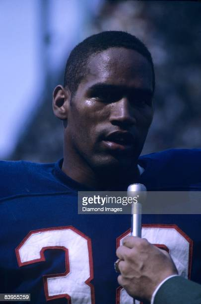 Runningback OJ Simpson of the Buffalo Bills is interviewed prior to a game in September 1969 at War Memorial Stadium in Buffalo New York