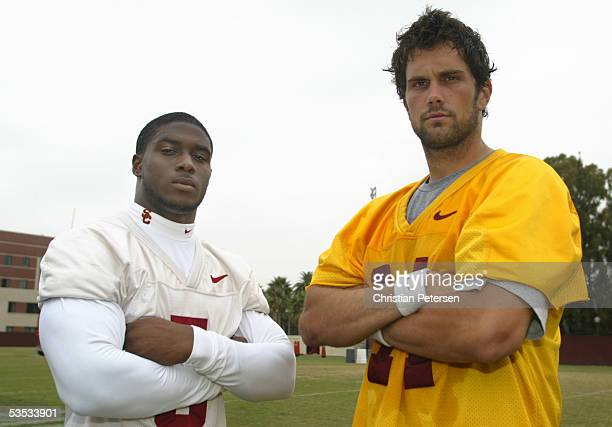 Runningback Reggie Bush and quarterback Matt Leinart of the USC Trojans pose for a portrait during a USC team practice on the USC campus on August 16...