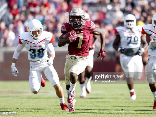 Runningback Ryan Green of the Florida State Seminoles runs in for a touchdown during the game against the Delaware State Hornets at Doak Campbell...
