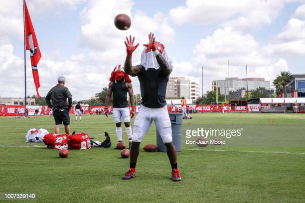 Runningback Shaun Wilson of the Tampa Bay Buccaneers works out by catching the ball with his jersey over his helmet and face after Training Camp as...