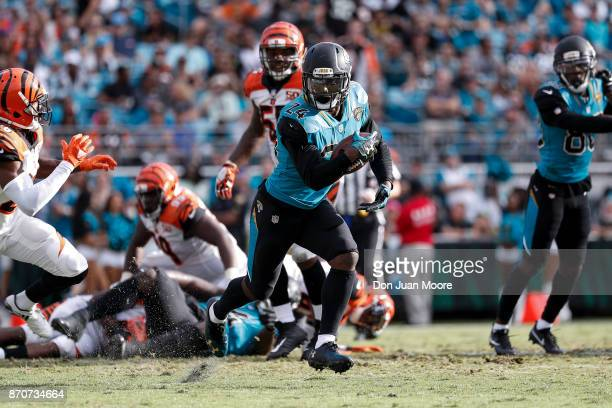 Runningback TJ Yeldon of the Jacksonville Jaguars on a running play during the game against the Cincinnati Bengals at EverBank Field on November 5...