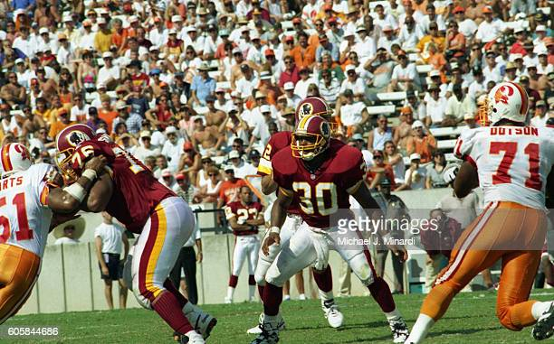 Runningr Back Brian Mitchell of the Washington Redskins takes a position to protect his Quarterback during a NFL football game against the Tampa Bay...