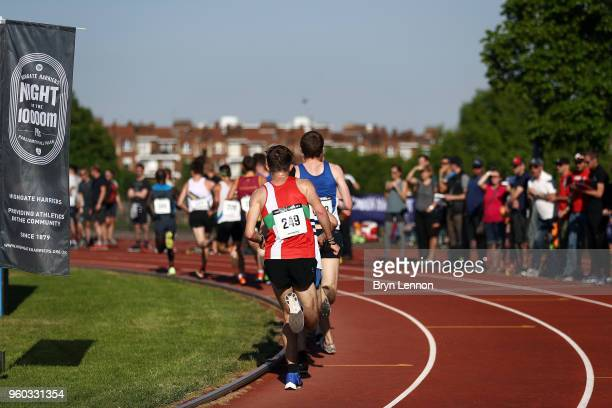 Runs lap the track in the Highgate Harriers Night of the 10000m PBs at Parliament Hill Athletics Track on May 19 2018 in London England