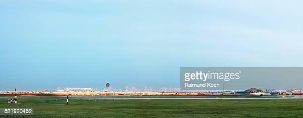 runway at franz-josef-strauss airport, munich - munich airport stock photos and pictures