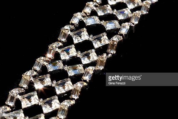 A 'runway' bracelet threedimensional segmented design flawless icewhite Swarovski crystals heavy rhodiumplated setting c 1950's This bracelet went to...