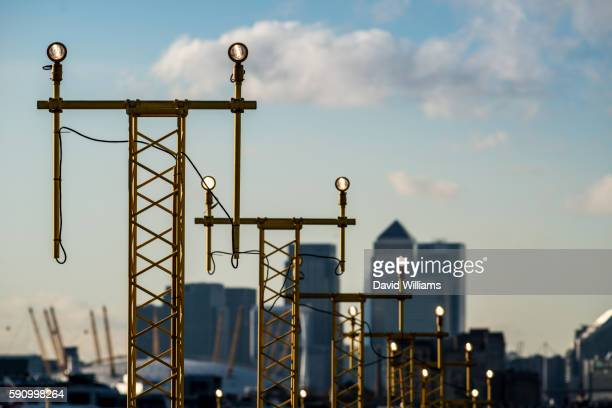 Runway lights to guide planes in to London City Airport in East London