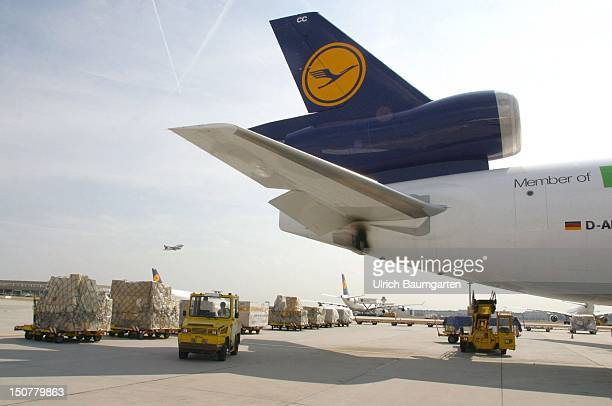 Runway of the Frankfurt Airport with cargo plane of the Lufthansa Cargo AG