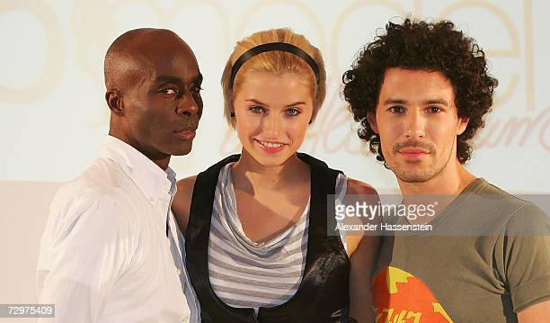 Runway trainer Bruce Darnell poses with winner of the first Germanys next Topmodell contest Lena Gercke and MakeupArtist Boris Entrup during the...