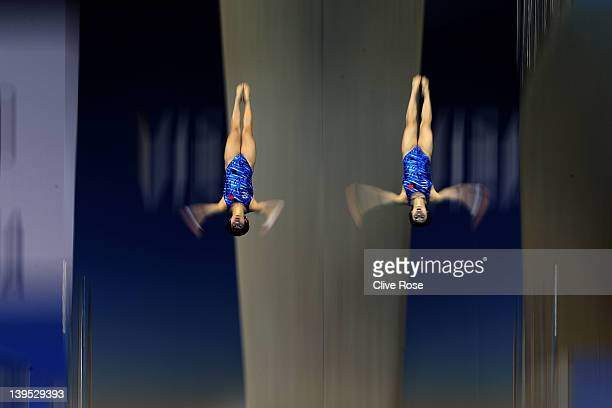 Ruolin Chen and Hao Wang of China in action during the Women's synchronised 10m platform final at the London Aquatics Centre on February 22 2012 in...