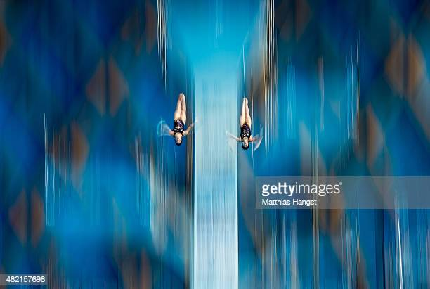 Ruolin Chen and Huixia Liu of China compete in the Women's 10m Platform Synchronised Preliminary Diving on day three of the 16th FINA World...