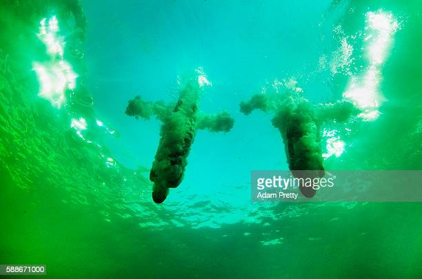 Ruolin Chen and Huixia Liu of China practice ahead of the Women's Diving Synchronised 10m Platform Final on Day 4 of the Rio 2016 Olympic Games at...