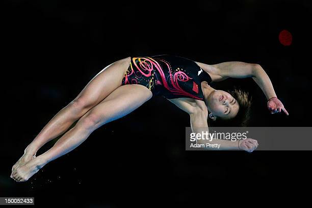 Ruolin Chen of China competes in the Women's 10m Platform Diving Final on Day 13 of the London 2012 Olympic Games at the Aquatics Centre on August 9...