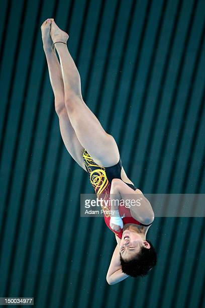 Ruolin Chen of China competes in the Women's 10m Platform Diving Semifinal on Day 13 of the London 2012 Olympic Games at the Aquatics Centre on...