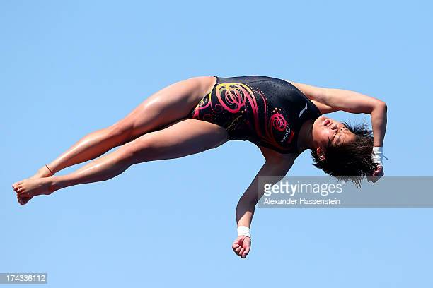 Ruolin Chen of China competes in the Women's 10m Platform Diving semi final on day five of the 15th FINA World Championships at Piscina Municipal de...