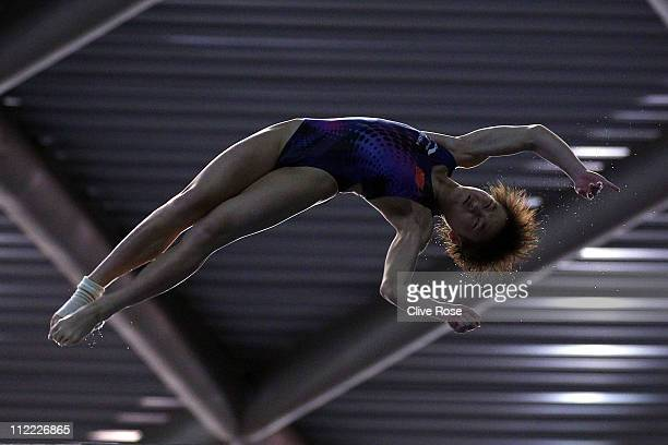 Ruolin Chen of China competes in the Women's 10m platform semifinal during the FINA World Series Diving at Ponds Forge International Sports Centre on...