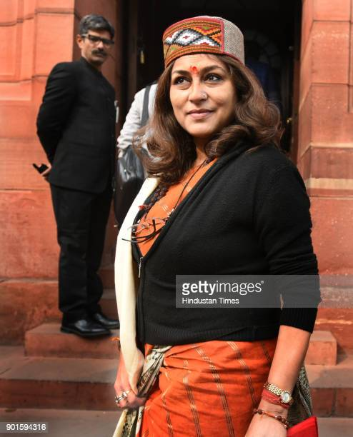 Rupa Ganguli during the last day of the parliament winter session at Parliament House on January 5 2018 in New Delhi India The last day of the winter...