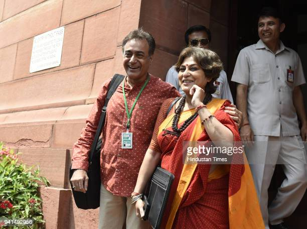 Rupa Ganguly shares a light moment with actor and former Member of Parliament Nitish Bharadwaj during the ongoing budget session of Parliament on...