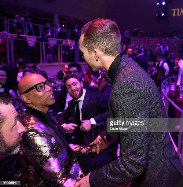 RuPaul and Adam Rippon attend the 2018 Time 100 Gala at Jazz at Lincoln Center on April 24 2018 in New York CityÊ