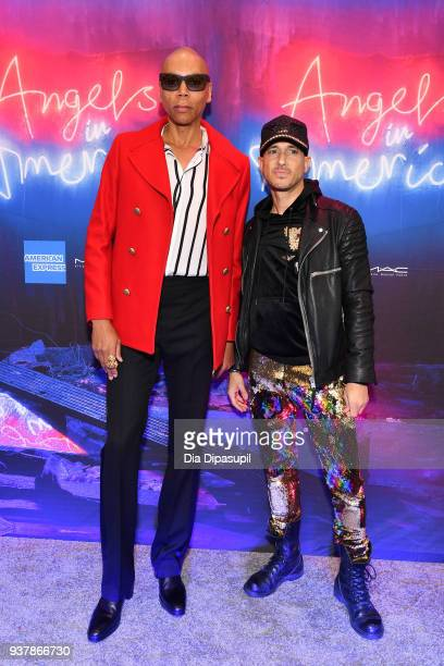 RuPaul and Ari Gold attend the 'Angels in America' Broadway Opening Night part 1 arrivals at the Neil Simon Theatre on March 25 2018 in New York City
