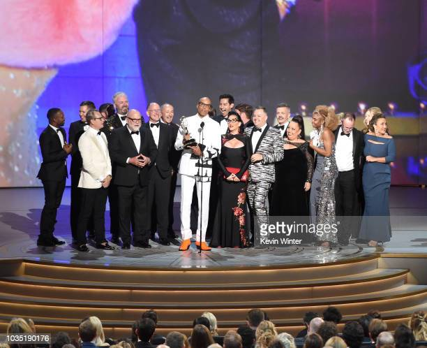 RuPaul and cast and crew accept the Outstanding RealityCompetition Program for 'RuPaul's Drag Race' onstage during the 70th Emmy Awards at Microsoft...
