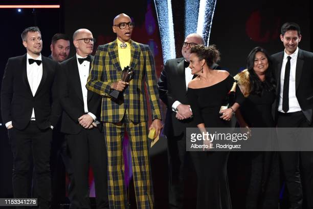 RuPaul and fellow producers accept the Best Competition Series award for 'RuPaul's Drag Race' onstage during the Critics' Choice Real TV Awards at...