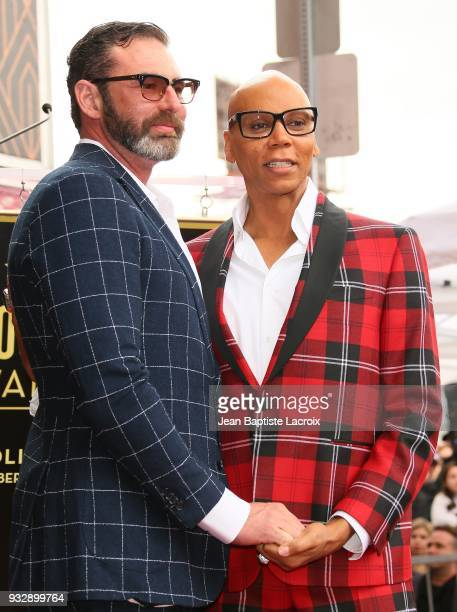RuPaul and Georges LeBar attend a ceremony honoring him with a Star on The Hollywood Walk Of Fame on March 16 2018 in Hollywood California