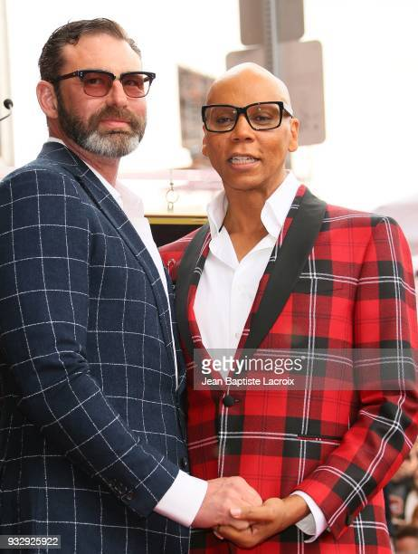 RuPaul and Georges LeBar attend a ceremony honoring RuPaul with a Star on The Hollywood Walk Of Fame on March 16 2018 in Hollywood California