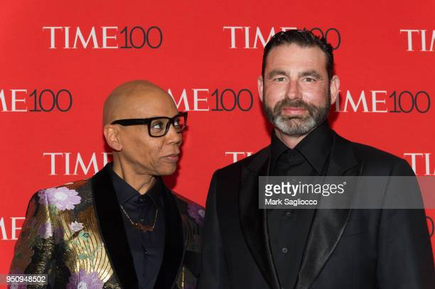 RuPaul and Georges LeBar attend the 2018 Time 100 Gala at Frederick P Rose Hall Jazz at Lincoln Center on April 24 2018 in New York City