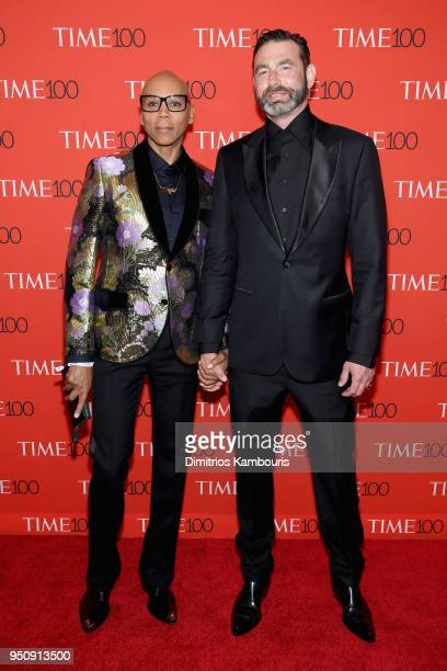 RuPaul and Georges LeBar attend the 2018 Time 100 Gala at Jazz at Lincoln Center on April 24 2018 in New York City