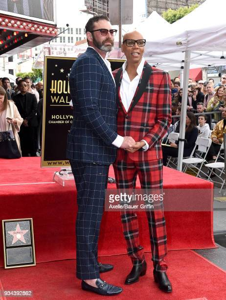 RuPaul and Georges LeBar attend the ceremony honoring RuPaul with star on the Hollywood Walk of Fame on March 16 2018 in Hollywood California