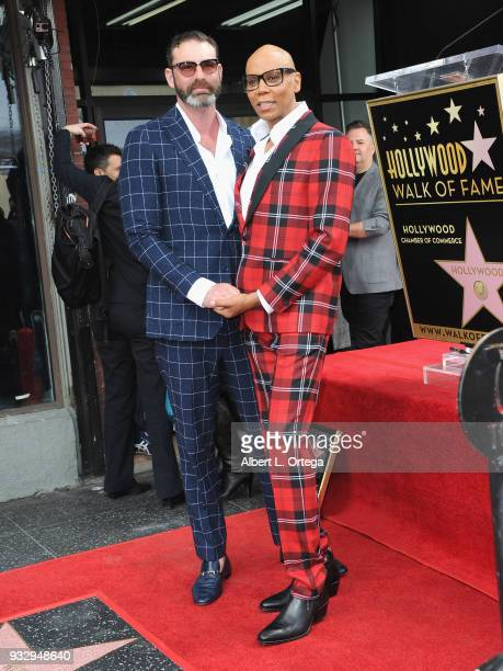 RuPaul and his husband Georges LeBar attend RuPaul's star ceremony on The Hollywood Walk of Fame on March 16 2018 in Hollywood California