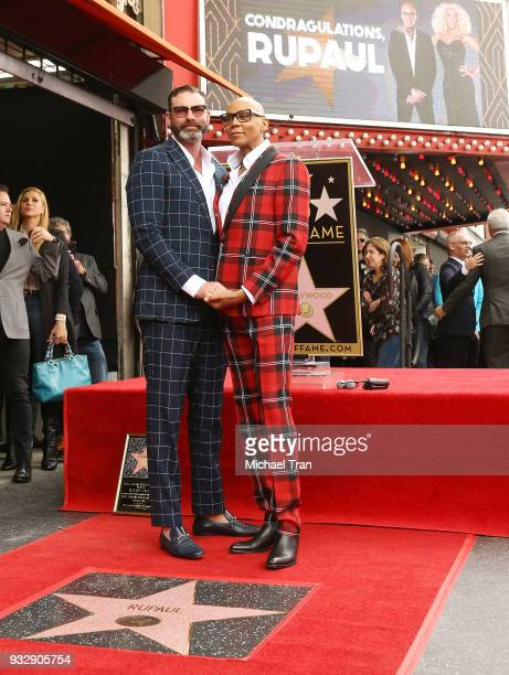 RuPaul and husband Georges LeBar attend the ceremony honoring RuPaul with a Star on The Hollywood Walk of Fame held on March 16 2018 in Hollywood...