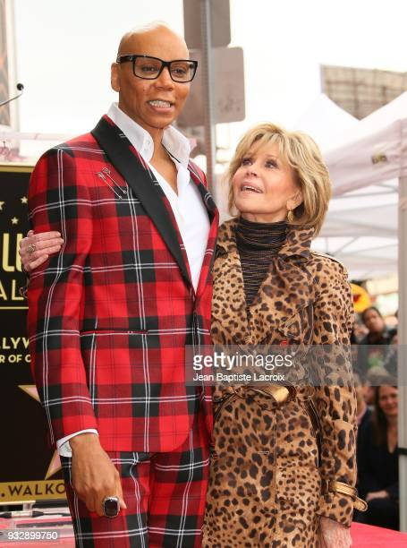 RuPaul and Jane Fonda attend a ceremony honoring him with a Star on The Hollywood Walk Of Fame on March 16 2018 in Hollywood California
