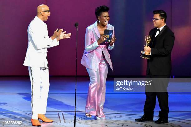 RuPaul and Leslie Jones onstage during the 70th Emmy Awards at Microsoft Theater on September 17 2018 in Los Angeles California