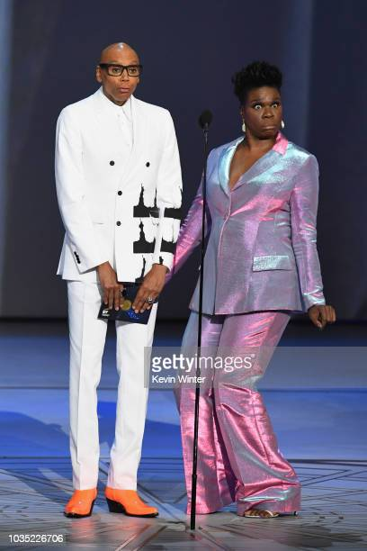 RuPaul and Leslie Jones pose onstage during the 70th Emmy Awards at Microsoft Theater on September 17 2018 in Los Angeles California